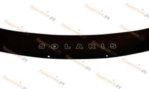 Длинный дефлектор капота (мухобойка) Hyundai Solaris